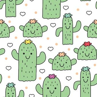 Modello senza cuciture carino piccolo cactus