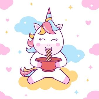 Modello senza cuciture carino unicorn eat noodles