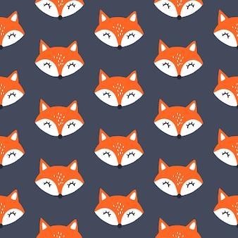 Modello senza cuciture carino volpe rossa. sfondo di animali. ovunque