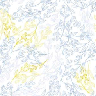 Modello senza cuciture casuale con rami di erbe nei toni del blu e giallo. sfondo bianco.
