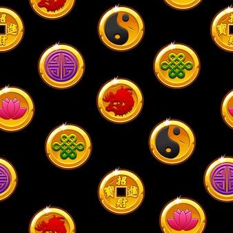 Modello senza cuciture cinese con monete di simboli tradizionali. sfondo nero e icone su livelli separati