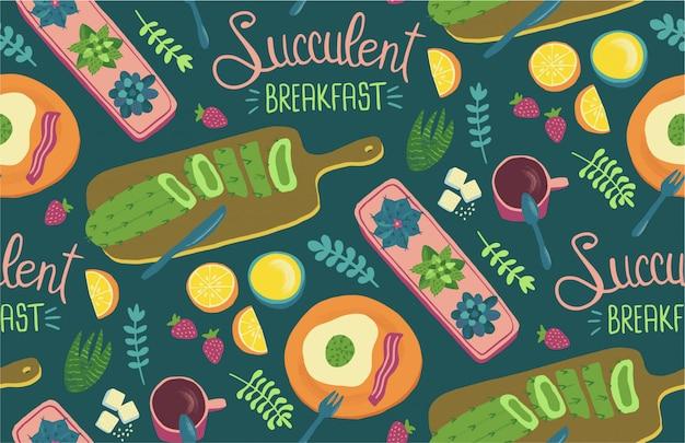 Modello senza cuciture colazione succulente