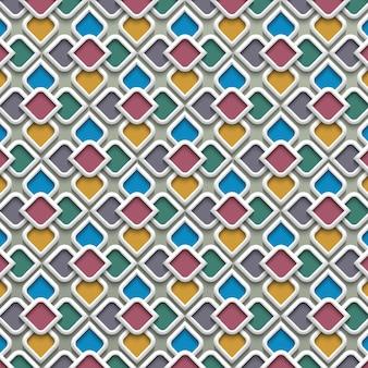 Modello senza cuciture colorato 3d nello stile islamico