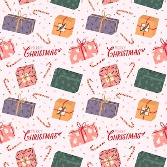 Modello senza cuciture colorato con vari contenitori di regalo ed elementi tradizionali di inverno per natale e capodanno in stile hygge. sfondo scandinavo. accogliente stagione invernale.
