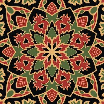 Modello senza cuciture colorato ornamento orientale di mandala.