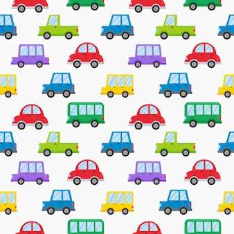 Modello senza cuciture colorato trasporto carino auto stile cartoon isolato su bianco