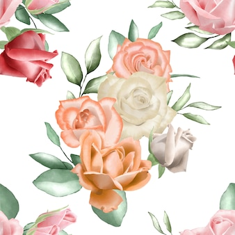 Modello senza cuciture con acquerello floreale e foglie