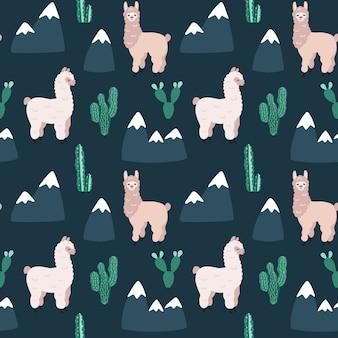 Modello senza cuciture con alpaca, cactus e montagne.