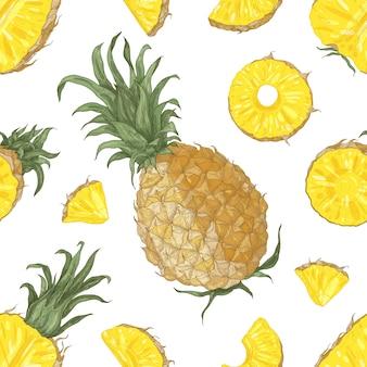 Modello senza cuciture con ananas interi e tagliati su fondo bianco. sfondo con esotici frutti tropicali maturi succosi. illustrazione realistica per carta da parati, carta da imballaggio, stampa tessile.