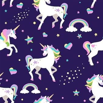Modello senza cuciture con arcobaleno, unicorno, cuori e stelle.
