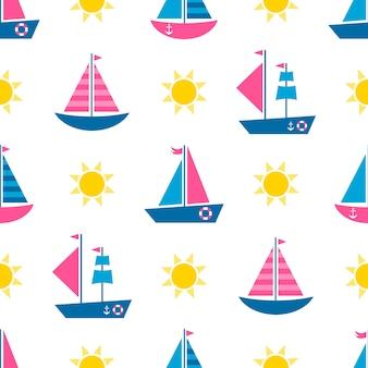 Modello senza cuciture con barche di cartone animato e sole