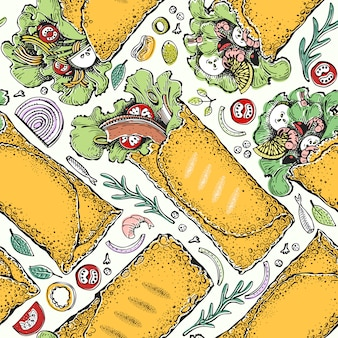 Modello senza cuciture con burrito. cibo messicano