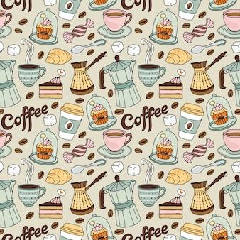 Modello senza cuciture con caffè e dolce. sfondo di caffè