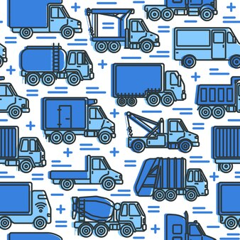 Modello senza cuciture con camion in stile linea