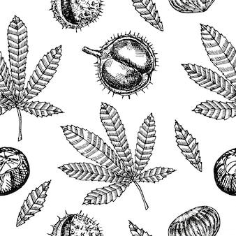 Modello senza cuciture con castagne e foglie di autunno. modello senza cuciture con foglie di castagno su uno sfondo. foglie ventose.