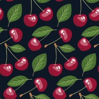 Modello senza cuciture con ciliegie e foglie