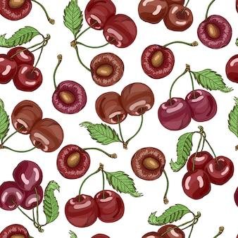 Modello senza cuciture con ciliegie
