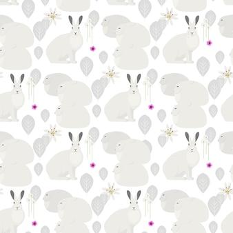 Modello senza cuciture con conigli bianchi