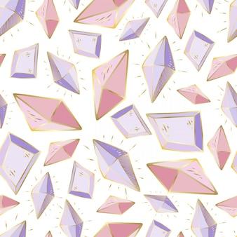 Modello senza cuciture con cristalli di vettore o gemme