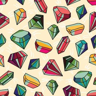 Modello senza cuciture con cristalli luminosi. illustrazione colorata