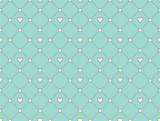 Modello senza cuciture con cuore bianco e punto su uno sfondo turchese per san valentino.