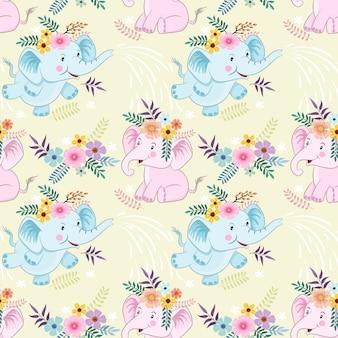 Modello senza cuciture con cute cartoon elefanti e fiori tessuto texyile.