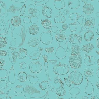 Modello senza cuciture con disegno di contorno di verdure, frutta, bacche. sfondo con ingredienti alimentari.