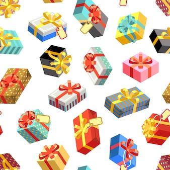 Modello senza cuciture con diversi giftbox colorati. illustrazione vettoriale stile piatto modello senza cuciture del regalo, contenitore di regalo del pacchetto di compleanno di festa
