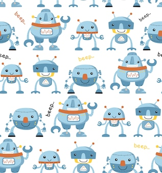 Modello senza cuciture con divertente cartone animato robot