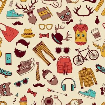 Modello senza cuciture con elementi specifici di stile hipster. immagini disegnate a mano trama di sfondo hipster con occhiali e animali. illustrazione vettoriale