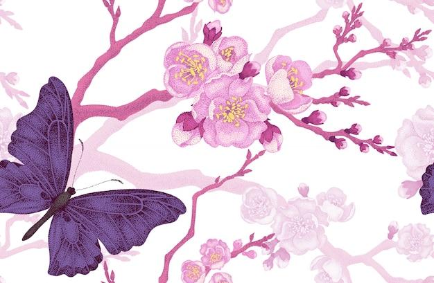 Modello senza cuciture con farfalla e ramo di ciliegio.