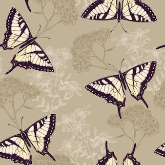 Modello senza cuciture con farfalle disegnate a mano inchiostro, erbe e fiori su sfondo colorato