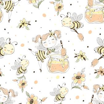 Modello senza cuciture con fata dei fiori e api da miele.