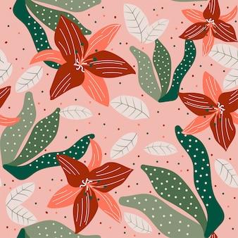 Modello senza cuciture con fiori colorati e foglie