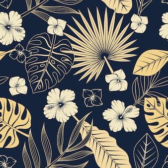 Modello senza cuciture con foglie e fiori tropicali. elegante sfondo esotico.