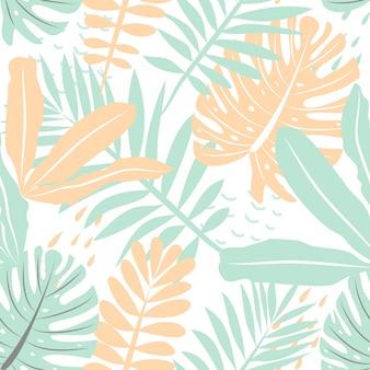 Modello senza cuciture con foglie tropicali in colori delicati