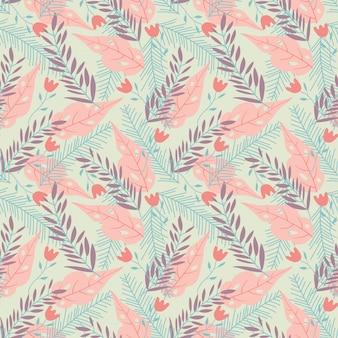 Modello senza cuciture con foglie tropicali in colori pastello