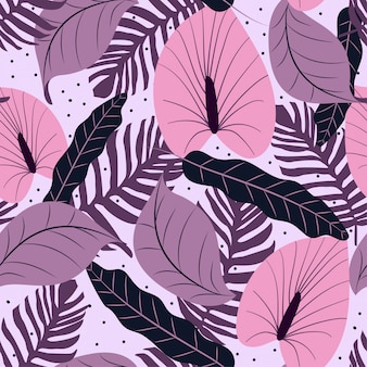 Modello senza cuciture con fondo lilla e foglie tropicali