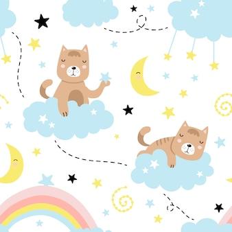 Modello senza cuciture con gatto sveglio, nuvole, stelle, luna, arcobaleno
