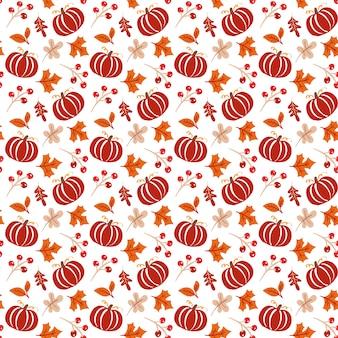 Modello senza cuciture con ghiande, zucca e foglie di quercia autunnali in arancione e marrone