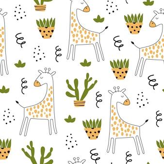Modello senza cuciture con giraffa e elementi disegnati a mano.
