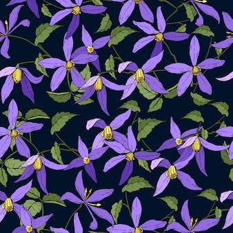Modello senza cuciture con i fiori del giardino della clematide