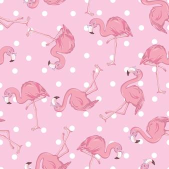 Modello senza cuciture con il fenicottero rosa fumetto