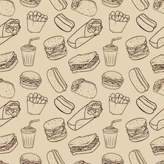 Modello senza cuciture con il modello delle illustrazioni degli alimenti a rapida preparazione. elemento per poster, carta da imballaggio. illustrazione