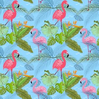 Modello senza cuciture con il modello di foglia tropicale e flamingo.