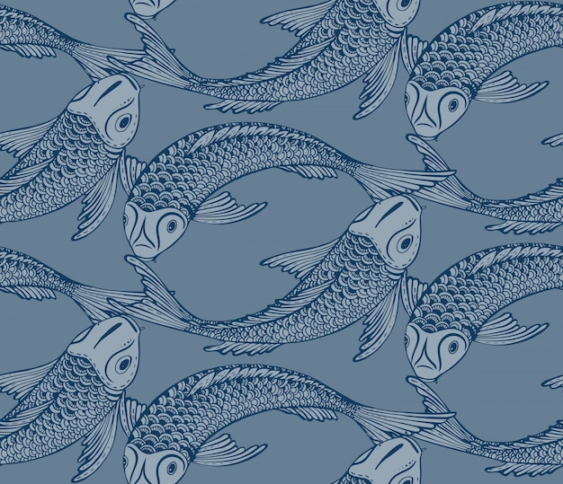 Modello senza cuciture con il pesce disegnato a mano di koi