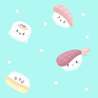 Modello senza cuciture con l'illustrazione di sushi in stile cartone animato