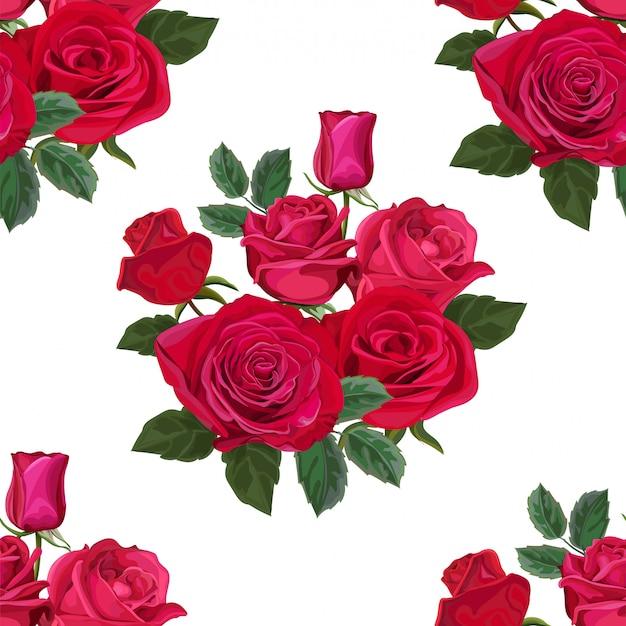 Modello senza cuciture con l'illustrazione di vettore del fiore di rosa