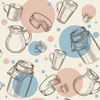 Modello senza cuciture con l'immagine di prodotti lattiero-caseari