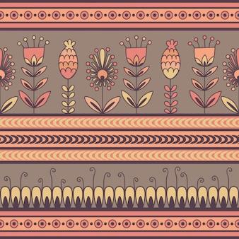 Modello senza cuciture con l'ornamento floreale nelle bande decorative